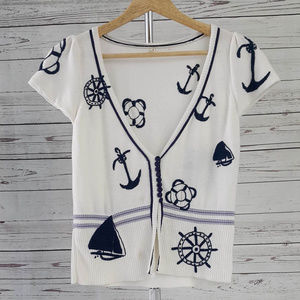 Anthropologie Moth white nautical sailor sweater